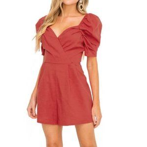 All In Favor Puff Sleeve Cranberry Linen Romper S